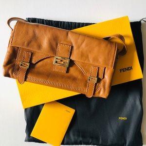 Fendi brown leather baguette handbag